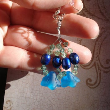 Crystal and glass flower earrings - blue - green - freshwater pearl -crystal earrings -  fairy inspired -Christmas -holiday -formal -frosted