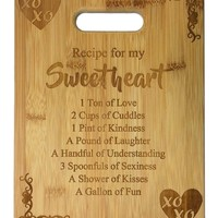 Recipe for my Sweetheart Cute Funny Laser Engraved Bamboo Cutting Board - Wedding, Housewarming, Anniversary, Birthday, Mother's Day, Valentine's Day Gift