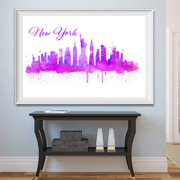 New York, Skyline, Shades of Purple, Watercolor, Set of 5 Printables, Watercolor effect, NY Skyline, Printable, New York, Download