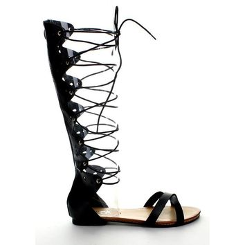 Refresh ONGEE-07 Women Lace Up Knee-High Boot Strappy Flat Gladiator Sandal Shoe