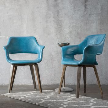 Teal Mid-Century Modern Accent Chair (Set of 2)
