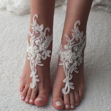 EXPRESS SHIP Beach Wedding Barefoot Sandals ivory lace barefoot sandals beach shoes Bridesmaid Gift Bridal Accessories Bridal Anklets