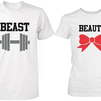 Cute Couple Shirts - Beauty and the Beast - His and Hers Matching  T shirts in White