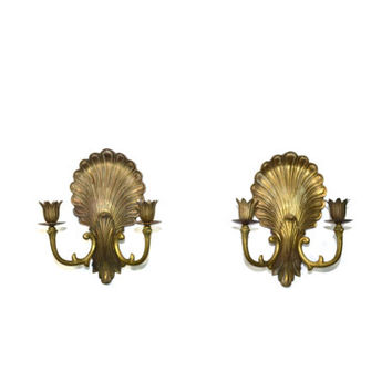 Vintage Brass Candle Holders Brass Shell Wall Sconces Brass Sea Shell Wall Sconce Brass Candelabras Wall Sconces