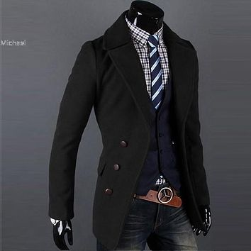 Men's Jacket Single breasted Luxury Wide-lapel Winter wool Coat Overcoat Jacket 2 Colors M,L,XL,XXL Free shipping 31