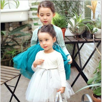 2017 Kids Dress for Girls long sleeve Princess Wedding Dress Children Costume Party Birthday tutu Dress for Baby Girls Dres