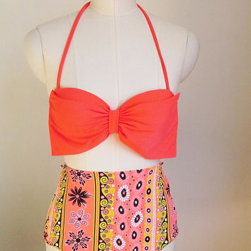 Orange Bow Sexy And Fashionable Beach Bikini Swimwear Swimsuit Retro Highwaisted Swimsuit