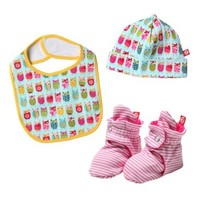 Zutano Baby-Girls Newborn Owls Bib, Hat And Bootie Set, Multi, 6 Months