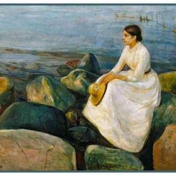 Inga on A Summer Night by Symbolist Artist Edvard Munch Counted Cross Stitch or Counted Needlepoint Pattern