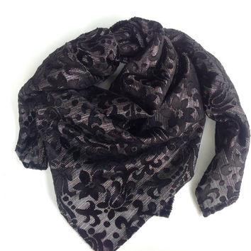 Black silk square shawl, Burnout silk scarf, Black veil, Religious Large Head scarf, Gift best Friend, Oversize black shawl, Gift for mom