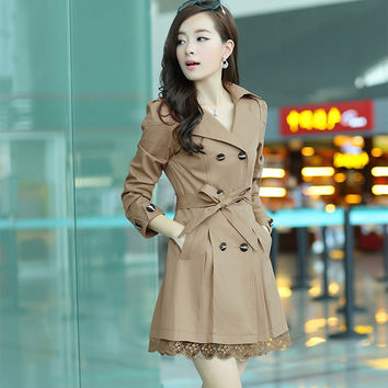 new  trench coat lace  winter coat women tropical  abrigos ropa mujer de renda  manteau femme cardigan fashion outwear