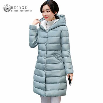 Fall Winter Jacket Women 2017 New Lamb Wool Hat Cotton Parka Slim Solid Color Hooded Long Wadded Quilted Coat Plus Size Okb58
