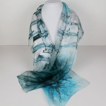 Turquoise Silk Scarf, Abstract Scarf, Blue Scarf, Hand Dyed Scarf, Etsy Gifts, Artisan Scarf, Boho Scarf, Unique Scarves, Fashion Gift,