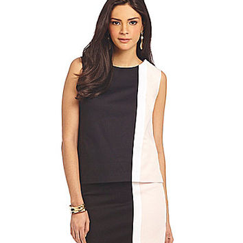 Jones New York Collection Woven Colorblock Shell - Black