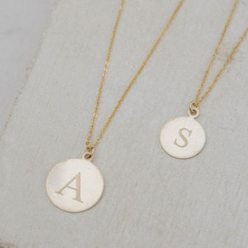 Initial Coin Necklace - Gold Filled or Silver