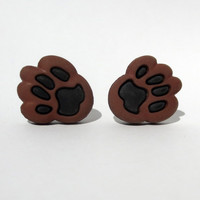 Big Bear Paw Print Earrings Post Stud Footprints Grizzley Teddy Brown Black Mascot Team Spirit Animal Jewelry