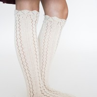 Chunky Knit Cream Boot Socks