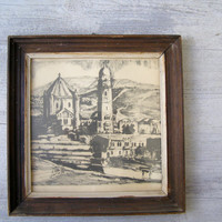 Black and white Old Church and Mountain Landscape Wooden Framed Picture, 70s Lithograph Print, Rustic Cottage Home Office Retro Wall Decor