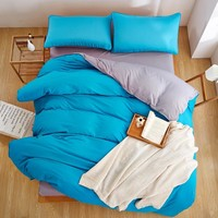 Winter New Style Grey Blue 3/4 PCS Bedding Set Double Color King Queen Full Twin Duvet Cover Set flat Sheet pillowcase