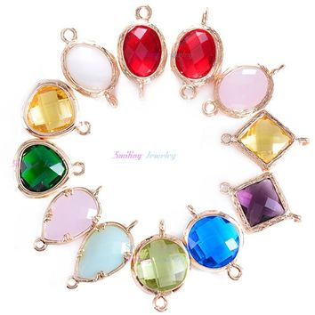 24pcs Mixed Oval Faceted Framed Charms CZ Zircon Birthstone Necklace Pendants Glass Bezel Bracelet Connector For DIY Jewelry