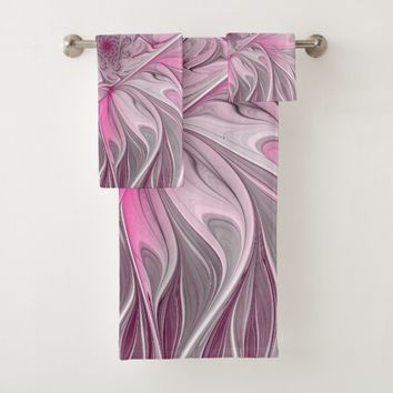 Fractal Pink Flower Dream, Floral Fantasy Pattern Bath Towel Set