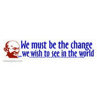 Gandhi - Change the World Bumper Sticker on Sale for $2.99 at HippieShop.com