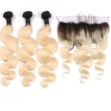 Ombre Brazilian Remy Human Hair Honey Blonde  3 Bundle with  Lace Frontal