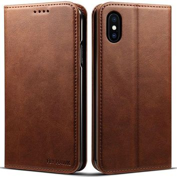 VONW3Q iPhone X, 5.8 inches, PU Leather Wallet Phone Case Iphone Case with Card Holder Kickstand Protective Flip Cover