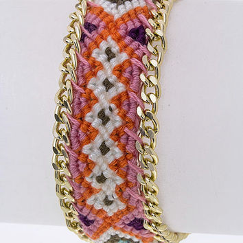 Boho Braided Bracelet with Gold Chain
