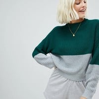 Pull&bear color block jersey sweater in green at asos.com