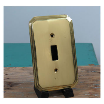 Solid Brass Switchplate Cover . Vintage Art Deco Style . Hollywood Regency . India . Switch Plate