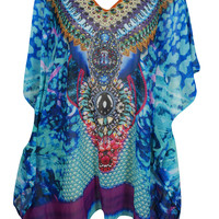 Summertime WOMEN SHORT KIMONO CAFTAN JEWEL PRINT Beach Boho BIKINI COVERUP