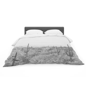 """Sylvia Coomes """"Black And White Cactus"""" Black White Photography Featherweight Duvet Cover"""