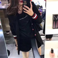 """Gucci"" Women Fashion Multicolor Stripe Letter Embroidery Tailored Collar Long Sleeve Cardigan Suit Coat"