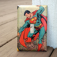 Superman COMIC BOOK LIGHTSWITCH Cover - Made from Authentic Vintage Comic Book Page - Perfect for a Man Cave, Comic Book Fan, Superhero Fan