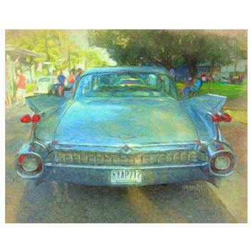 Classic 59 Cadillac, Old Fifties Car, Cruising the Coast, 8x10 11x14 16x20 Giclee Print - Fins to the Left - Korpita