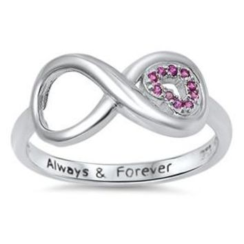 Sterling Silver 'Always & Forever' Simulated Ruby Infinity Ring