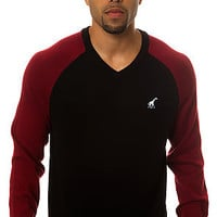 LRG Core Collection Raglan V-Neck Sweater in Black