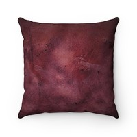 Burgundy Faux Suede Square Pillow