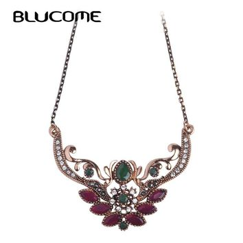 Blucome Brand Turkish Design Flower Crown Queen Necklace Thin Chain Red Resin Acrylic Pendants Vintage Party Women Lady Jewelry