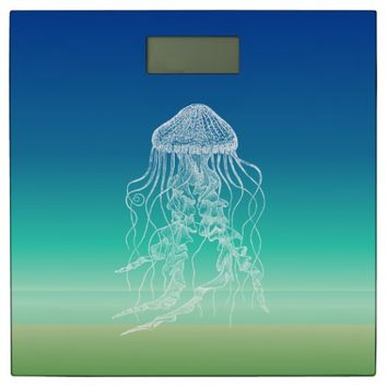 Jellyfish Blue Green Beach Bathroom Scale