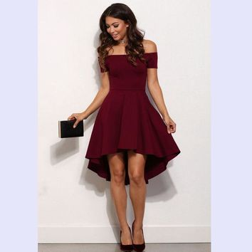 Summer Dress 2017 New Arrival Women Off Shoulder Party Dresses Burgundy Black Blue Casual Elegant Vintage Midi Dress Vestidos