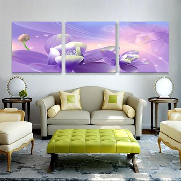 Modern 3 Piece Picture Canvas Oil Painting Home Decoration Wall Art Print Modular Pictures For Living Room Flower On Paintings