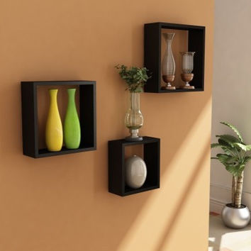 Aakashi Chocolate Brown Cubbi 3 piece Wall Shelf