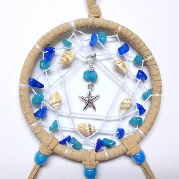 Starfish Dream Catcher with Crystals and Sea Shells