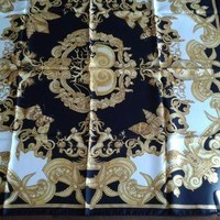 ONETOW Versace Black Gold Barocco Print Silk Scarf 34'x34' Italy