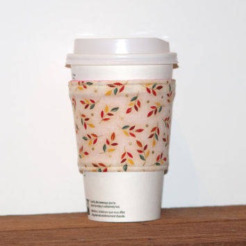 Fall themed Fabric Coffee Cozy - Coffee cup sleeve - Eco friendly cozy - Stocking stuffer - Drink Sleeve - Hot pink lining - Reversible