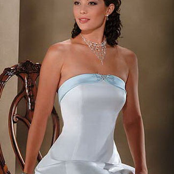 Bonny wedding gown 418, White with pastel blue size 10