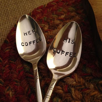 Hand Stamped Silver Coffee Spoons, His and Hers Spoons, Wedding Gift, Vintage Coffee Spoons, Stamped Silverware, Silver Teaspoon