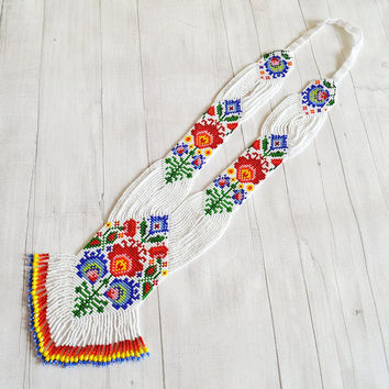 Łowicz gerdan necklace Long necklace Ukrainian folk style Unique handmade Handmade jewelry Gift for her him white folk poland Seed beads